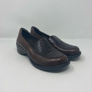 Clarks Artisan Brown Leather Heeled Loafers Wmns 8